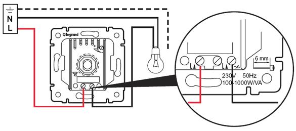 Схема подключения проходного диммера (светорегулятора) 774360 с проходным выключателем Legrand.