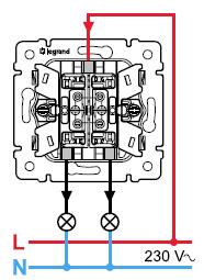 А вот так выглядит иначе изображена схема подключения двухклавишного выключателя.  Но суть та и сама.