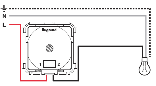 Файл gif, 13.9 Kb.  Схема подключения диммера 300Вт с лампами накаливания и галогенными лампами 230В.