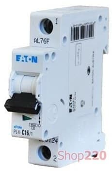 Автоматичний вимикач Moeller 10 А, уставка C, 1 полюс, PL4-C10/1 - фото 14823