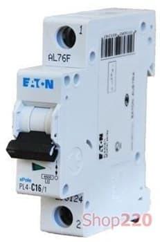 Автоматический выключатель 20 А, уставка C, 1 полюс, PL4-C20/1 Moeller PL4 - фото 14825