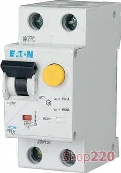 Диф. автомат 10 А, 30 мА, уставка C, PFL6 Eaton PFL6-10/1N/C/003 - фото 15384