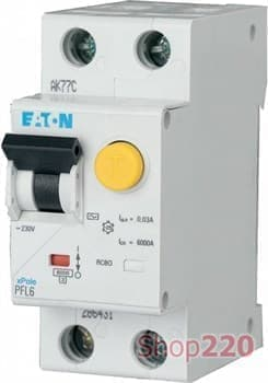 Дифавтомат 25 А, 30 мА, уставка В, PFL6 Moeller PFL6-25/1N/В/003 - фото 15391