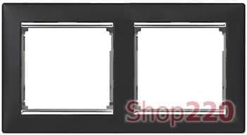 Рамка 2 поста, ноктюрн / серебряный штрих, 770392 Legrand Valena - фото 16438