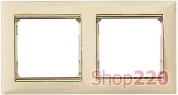 Рамка 2 поста, слоновая кость/золотой штрих 774152 Legrand Valena - фото 16451