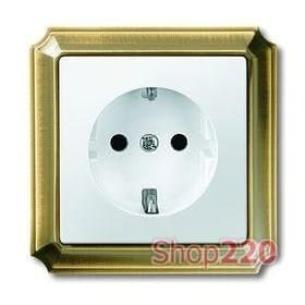 Розетка электрическая, античная латунь/белый, Merten Antik - фото 10309