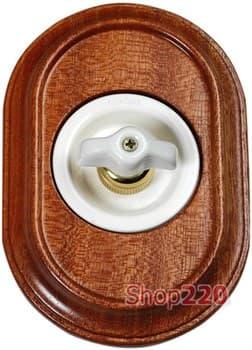 Поворотный выключатель Venezia Oval в рамке дерево Sapelly - фото 10487