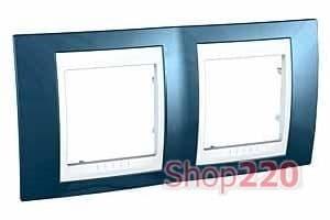 Рамка 2 поста, голубой лёд, Unica MGU6.004.854 Schneider - фото 10519