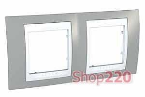 Рамка 2 поста, серый, Unica MGU6.004.865 Schneider - фото 10530