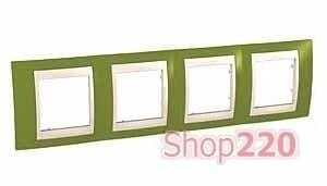 Рамка 4 поста, фисташковый, Unica MGU6.008.566 Schneider - фото 10540