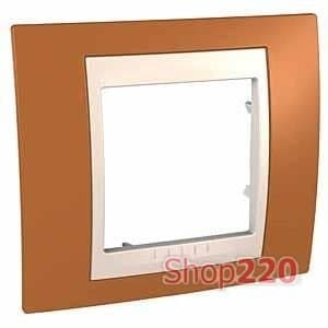 Рамка 1 пост, оранжевый, Unica MGU6.002.569 Schneider - фото 10547