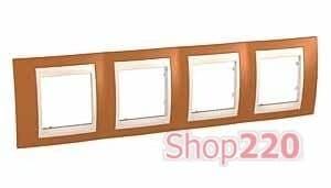 Рамка 4 поста, оранжевый, Unica MGU6.008.569 Schneider - фото 10552