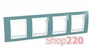 Рамка 4 поста, синий, Unica MGU6.008.873 Schneider - фото 10570