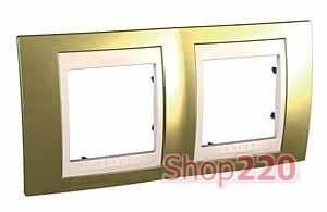 Рамка 2 поста, золото, Unica MGU66.004.504 Schneider - фото 10620
