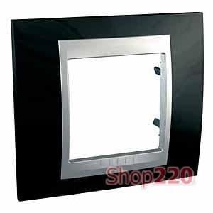 Рамка 1 пост, черный родий, Unica MGU66.002.093 Schneider - фото 10684