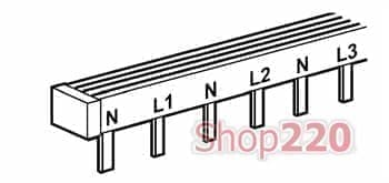 Гребенка с двухполюсным распределением на 3 фазы типа штырь, 404940 Legrand - фото 11131