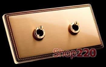 Переключатель 2клавишный, 10АХ 250В, золото - фото 11140