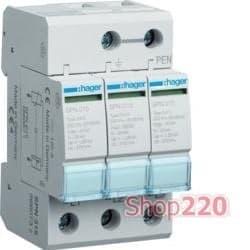 Разрядник защиты от перенапряжения на 3 полюса, 40 кА, Hager SPN315