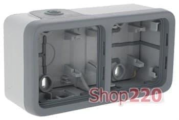 Коробка 2-ная накладная горизонтальная, серый 69672 Legrand - фото 13419