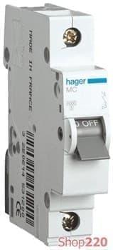 Автоматический выключатель 10 А, 1-фазный, хар-ка С, MC110A Hager - фото 13700