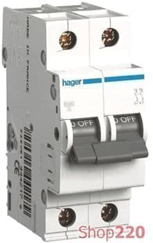 Автоматический выключатель двухполюсный 63 А, уставка С, MC263A Hager - фото 13729
