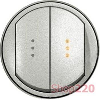Клавиша двухклавишного выключателя с подсветкой, титан, 68304 Legrand Celiane - фото 14237