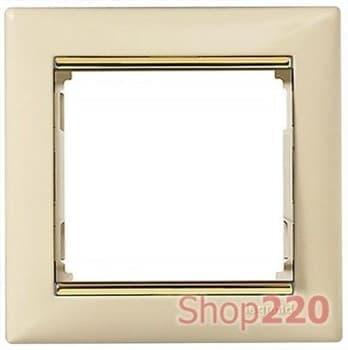 Рамка 1 пост, слоновая кость/золотой штрих 774151 Legrand Valena - фото 30004