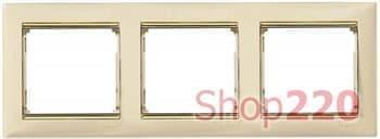 Рамка 3 поста, слоновая кость/золотой штрих 774153 Legrand Valena - фото 30007