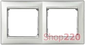 Рамка 2 поста, алюминий/серебряный штрих 770352 Legrand Valena - фото 30010
