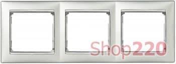 Рамка 3 поста, алюминий/серебряный штрих 770353 Legrand Valena - фото 30011