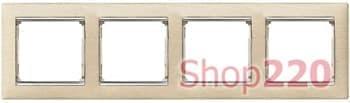 Рамка 4 постa, светлое дерево/серебряный штрих 770384 Legrand Valena - фото 30030