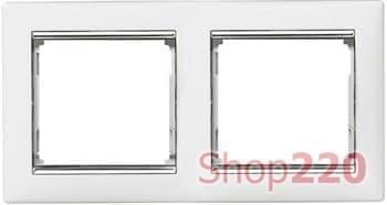 Рамка 2 поста, белый/серебряный штрих 770492 Legrand Valena - фото 30041