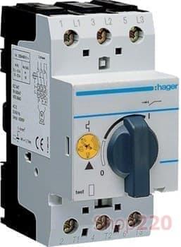 Автомат для защиты двигателя, ток 4 А - 6 А, MM509N Hager - фото 30298