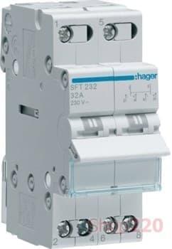 Переключатель генератор сеть, трехпозиционный на 32 А, SFT232 Hager - фото 30347