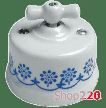 Выключатель белый с синим декором, накладной, 30306110 Fontini - фото 31238