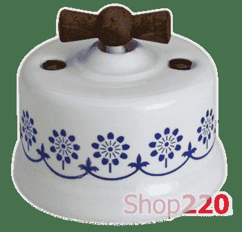 Переключатель керамика с деревянной ручкой, синий декор, Garby Fontini 30308230 - фото 31251