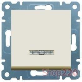 Выключатель проходной с подсветкой, кремовый, Lumina-2 WL0221 Hager - фото 31758
