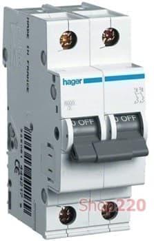 Автоматический выключатель 2 А, 2 полюса, С, 6 kA MC202A Hager - фото 34307