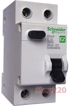 Дифавтомат 16 А, 30мА, тип С EZ9D34616 Schneider Easy9 - фото 34691