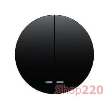 Выключатель 2-клавишный с подсветкой, черный, Berker - фото 34854