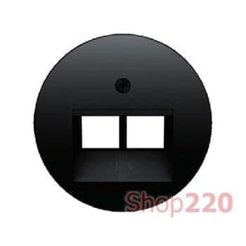 Розетка двойная RJ-45 компьютерная экранированная, черный, Berker - фото 34892