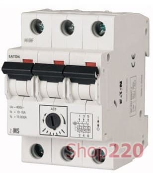 Автомат защиты двигателя 6,3А, 3 полюса, Z-MS-6,3/3  Eaton - фото 35937