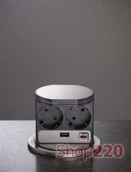 ВЫДВИЖНОЙ БЛОК РОЗЕТОК 2X220 + USB, БЕЗ ПОДСВЕТКИ, VOLTPORT