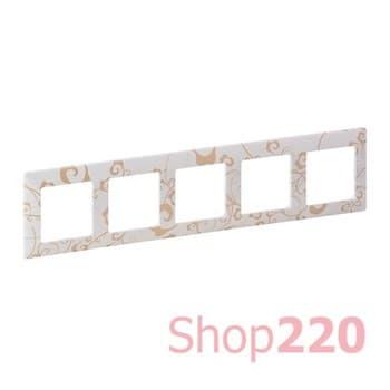 Рамка 5 постов, ампир белый, Valena 754105 Legrand - фото 38027