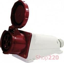 Силовая розетка 63А, 380В, 5 полюсов, стационарная, e.socket.pro.5.63 - фото 40219