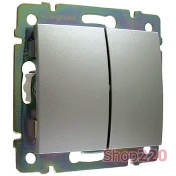 Выключатель проходной 2-клавишный, алюминий, Legrand 770108 Valena - фото 45181