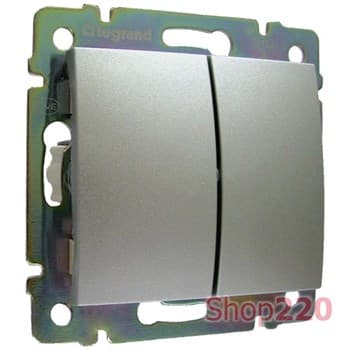 Выключатель 2-клавишный, алюминий, Legrand 770105 Valena - фото 45212