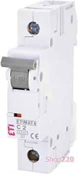 Автоматический выключатель 2А, 1 полюс, тип C, Eti 2141508 - фото 46570