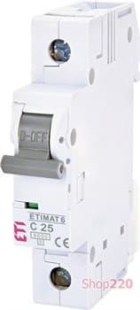Автоматический выключатель 25А, 1 полюс, тип C, Eti 2141518 - фото 46578