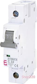 Автоматический выключатель 32А, 1 полюс, тип C, Eti 2141519 - фото 46579